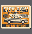 city taxi public transport vintage poster vector image vector image
