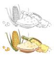 corn porridge sketch coloring page vector image vector image