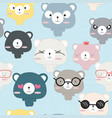 cute teddy bear cartoon seamless pattern vector image vector image
