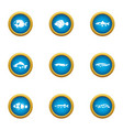 fish hobby icons set flat style vector image vector image