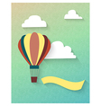 Flat balloon in clouds with ribbon vector image