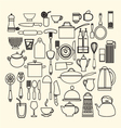 foods and kitchen outline icons set vector image vector image