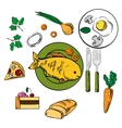 Fresh dinner and snack food icons vector image vector image