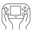 gamepad in hands thin line icon joypad in arms vector image vector image