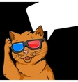 Ginger cat in 3d glasses vector image vector image