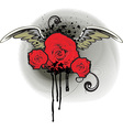Grunge Red Rose Design vector image vector image