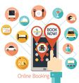 Hand Finger Touch Tablet Online Booking Icons vector image
