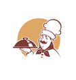 happy cartoon chef portrait vector image vector image