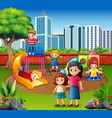happy family and children in the playground vector image vector image
