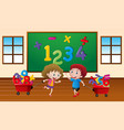 kids learning math in classroom vector image