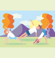 man and women training yoga exercise vector image vector image