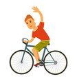 man rides bicycle with one hand isolated vector image