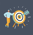 man with standing near target vector image vector image