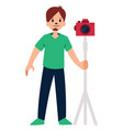 photographer with red camera character on a white vector image vector image