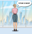 pop art business woman looking at city vector image vector image