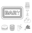 pub interior and equipment outline icons in set vector image