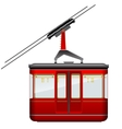 Red big and old cabin cableway on a white vector image vector image