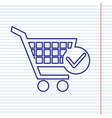 shopping cart with check mark sign navy vector image vector image