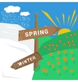 Sign spring winter with cold and warm weather vector image
