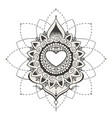 sketch of tattoo henna hearts vector image vector image