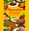 spanish cuisine dishes meat fish and vegetable vector image vector image