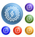 sun energy icons set vector image vector image