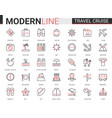 travel cruise thin red black line icon vector image vector image