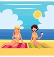Two girlfriends at the beach with a cocktail vector image