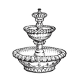 Vintage fountain Sketch vector image