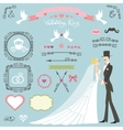 Wedding decor setFlat bridegroomswirlsbadges vector image