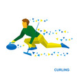 winter sports - curling player slide stone vector image vector image