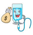 with money bag infussion bottle character cartoon vector image