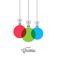 xmas balls with vintage christmas lettering on vector image