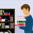 young student with books at library vector image vector image