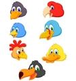 Bird head cartoon collection vector image