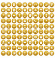 100 cake icons set gold vector image vector image