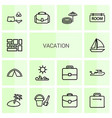 14 vacation icons vector image vector image