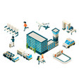 airport concept isometric plane building vector image vector image