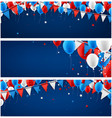 banners set with balloons and flags vector image vector image