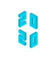 blue 2020 numbers isometric object vector image vector image