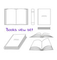 books linear sketch symbols collection vector image