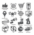 business management icons marketing and cost vector image vector image