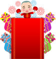 Chinese New Year lion dance and man with smile vector image vector image