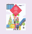 christmas in airport people characters man vector image