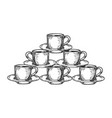 coffee cup pyramid tower engraving vector image vector image