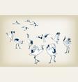 dance crane bird sketch japanese birds vector image