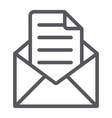 envelope with letter line icon mail and post vector image vector image