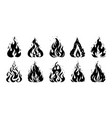 fire sketch hand drawn silhouette of flame retro vector image