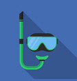 flat scuba mask with long shadow icon vector image