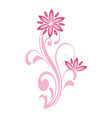 floral curve decorative ornaments pink flower vector image